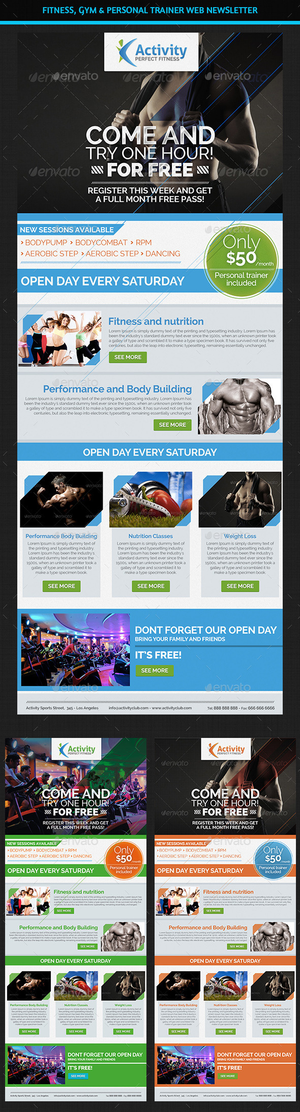 Fitness, Gym & Personal Trainer Web Newsletter - E-newsletters Web Elements