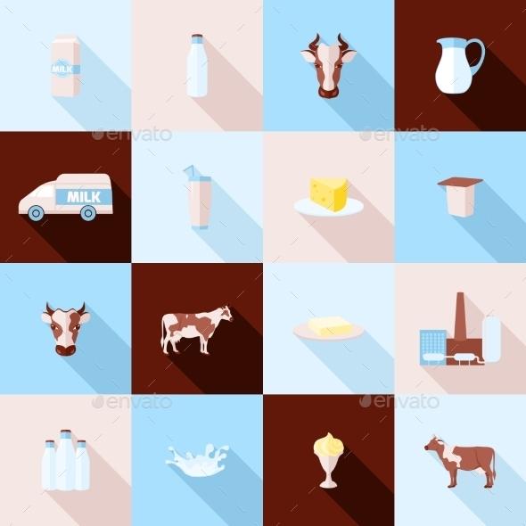 Milk Icons Set - Web Elements Vectors