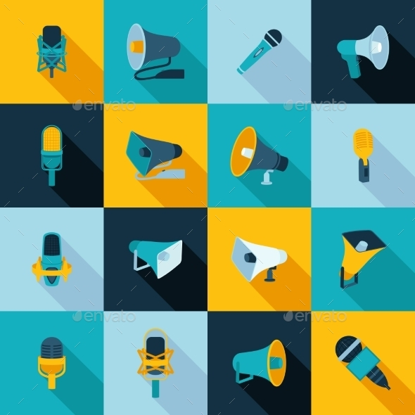 Microphone and Megaphone Icons - Technology Icons