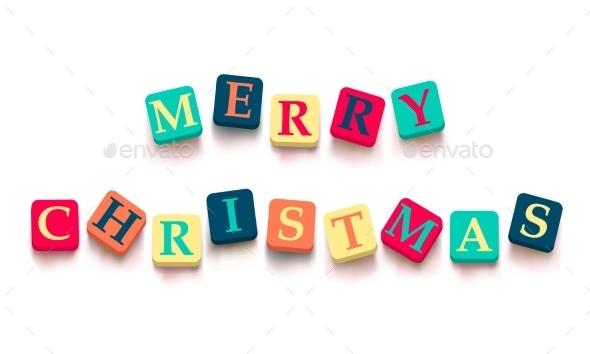 "Words ""Merry Christmas"" with Colorful Blocks - Christmas Seasons/Holidays"