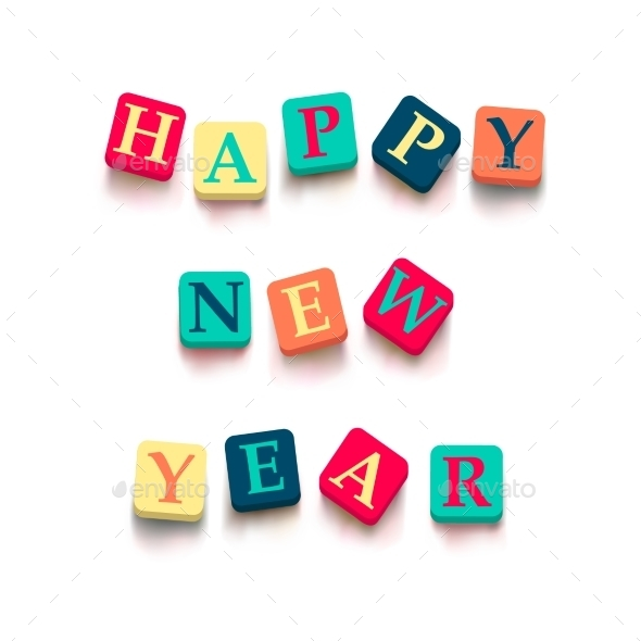 "Words ""Happy New Year"" with Colorful Blocks  - New Year Seasons/Holidays"