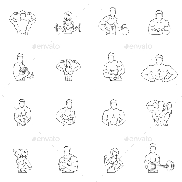 Bodybuilding Fitness Gym Icons - People Characters