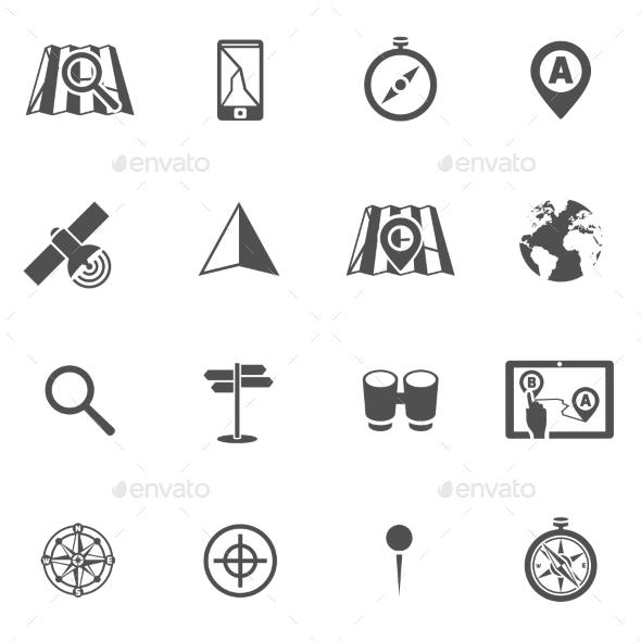 Navigation Icon Black Set - Web Elements Vectors