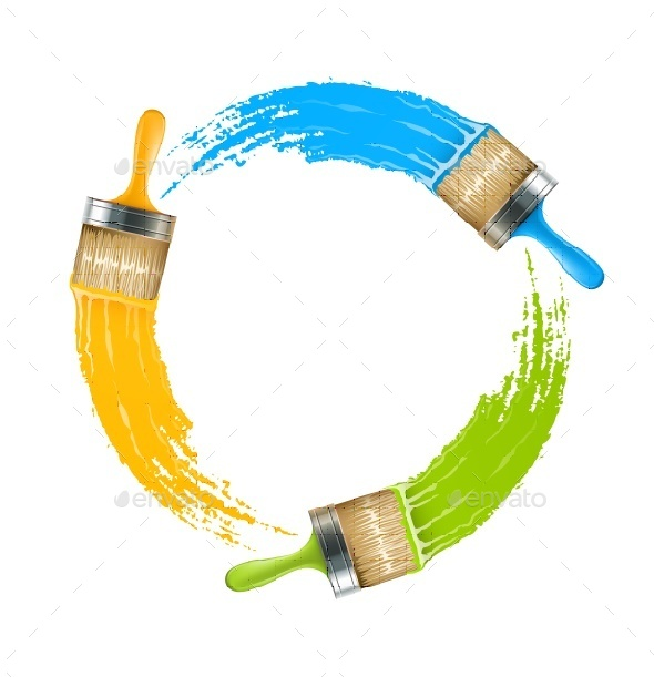 Circle of Brushes with Paint Drawing Colors - Man-made Objects Objects