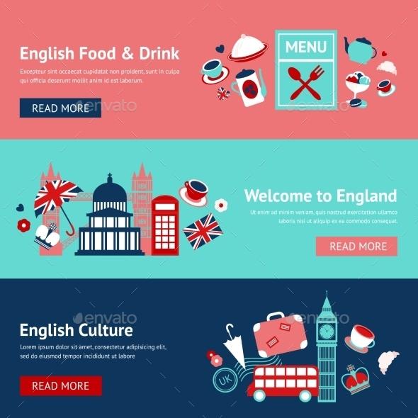 England Banner Set - Travel Conceptual