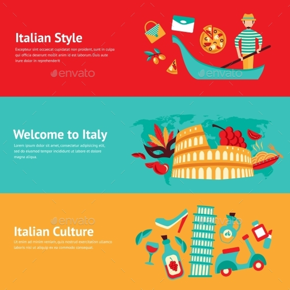 Italy Banner Set - Travel Conceptual