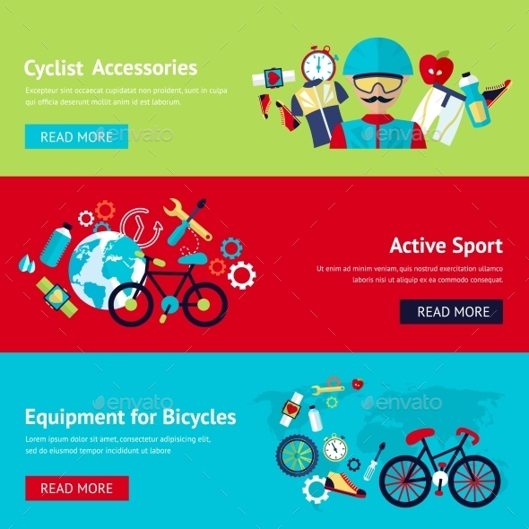 Bicycle Flat Banner Set  - Sports/Activity Conceptual