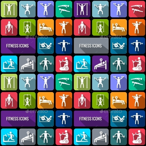 Fitness Icons Set - Sports/Activity Conceptual
