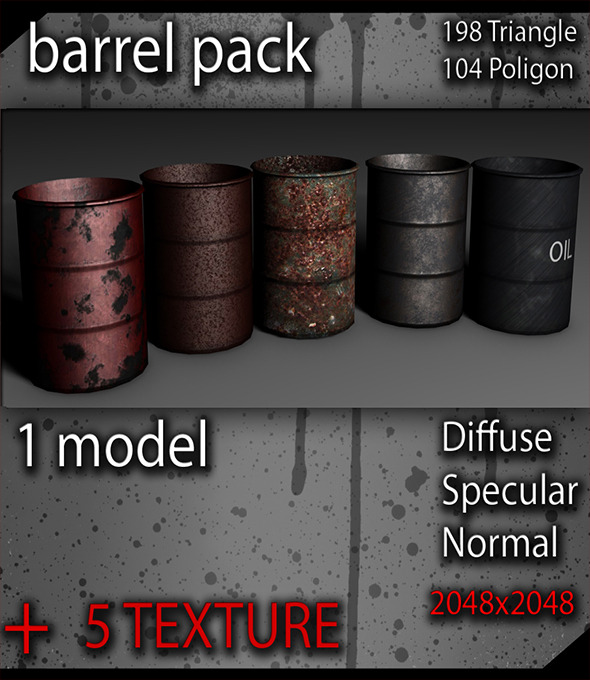 Low poly Barrel Pack - 3DOcean Item for Sale