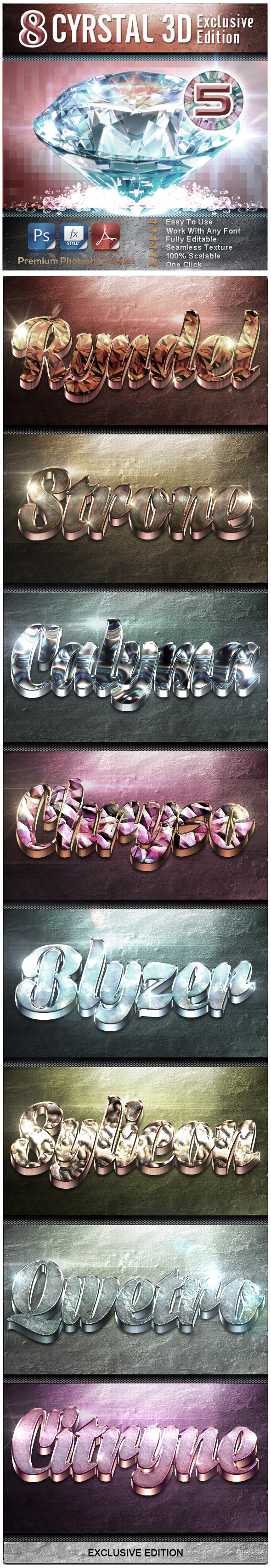 8 Crystal 3D Exclusive Edition Vol.5 - Text Effects Styles