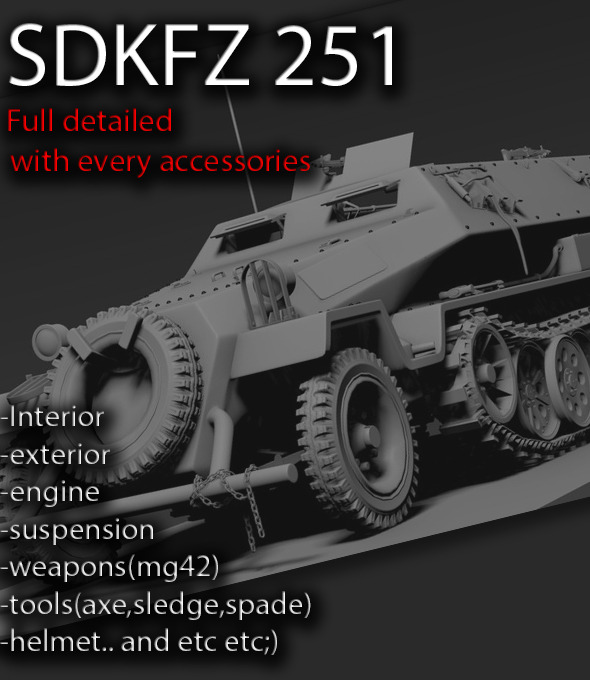 Sdkfz 251 High poly - 3DOcean Item for Sale