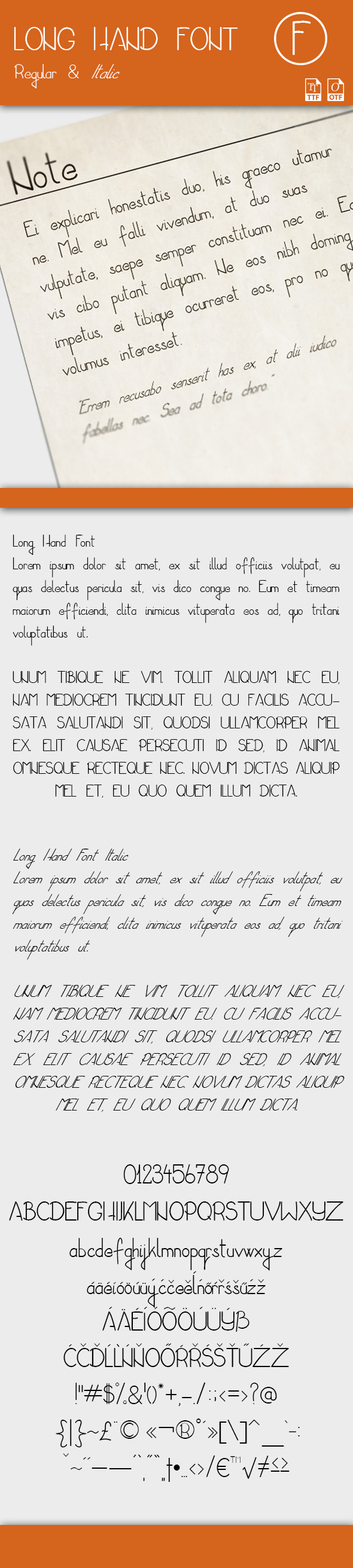 Long Hand Font - Handwriting Fonts