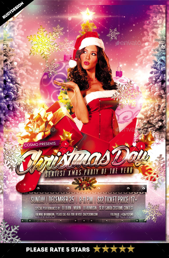 Sexy Christmas Day Party Flyer - Holidays Events
