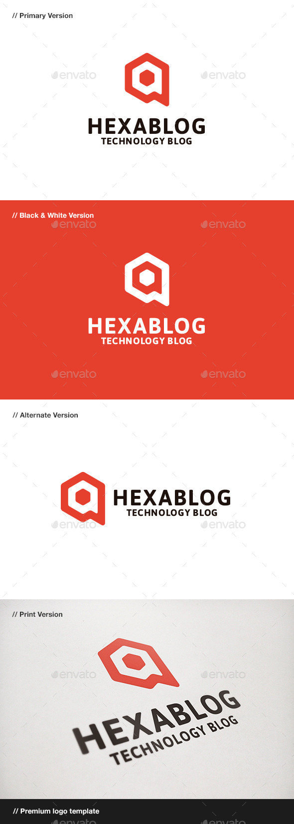 Hexablog - Hexagon & Blog Logo - Symbols Logo Templates