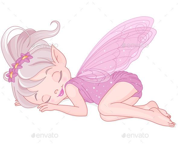 Sleeping Pixy Fairy - Characters Vectors