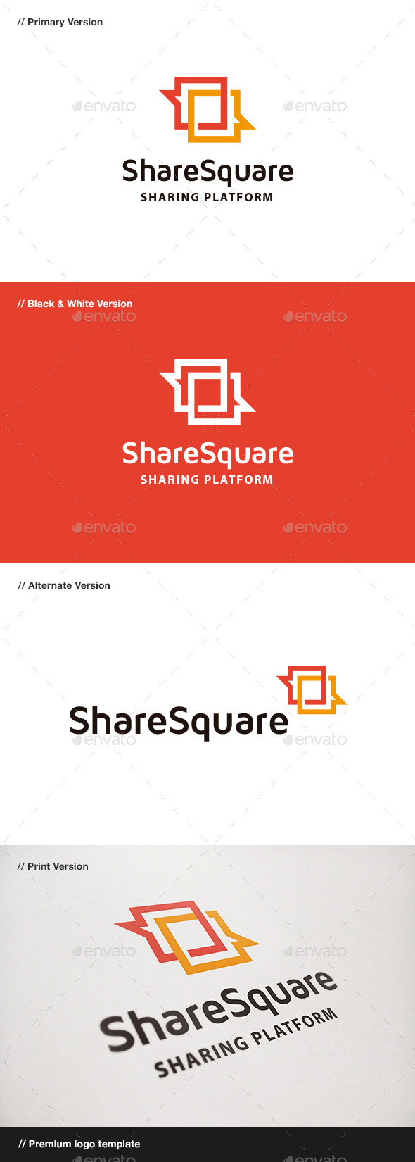 Share Square - Blog & Chat Logo - Symbols Logo Templates