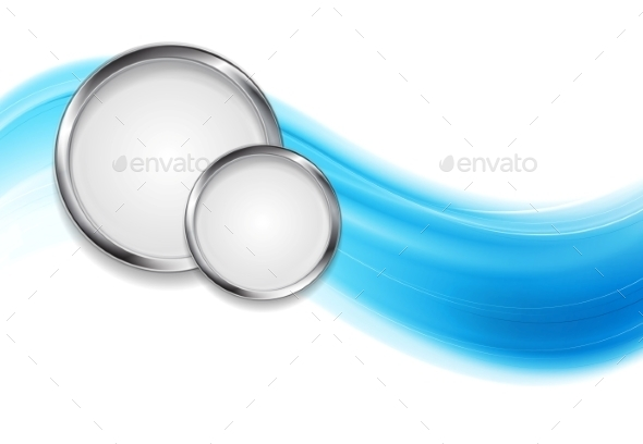 Blue Waves and Metal Circles - Backgrounds Decorative