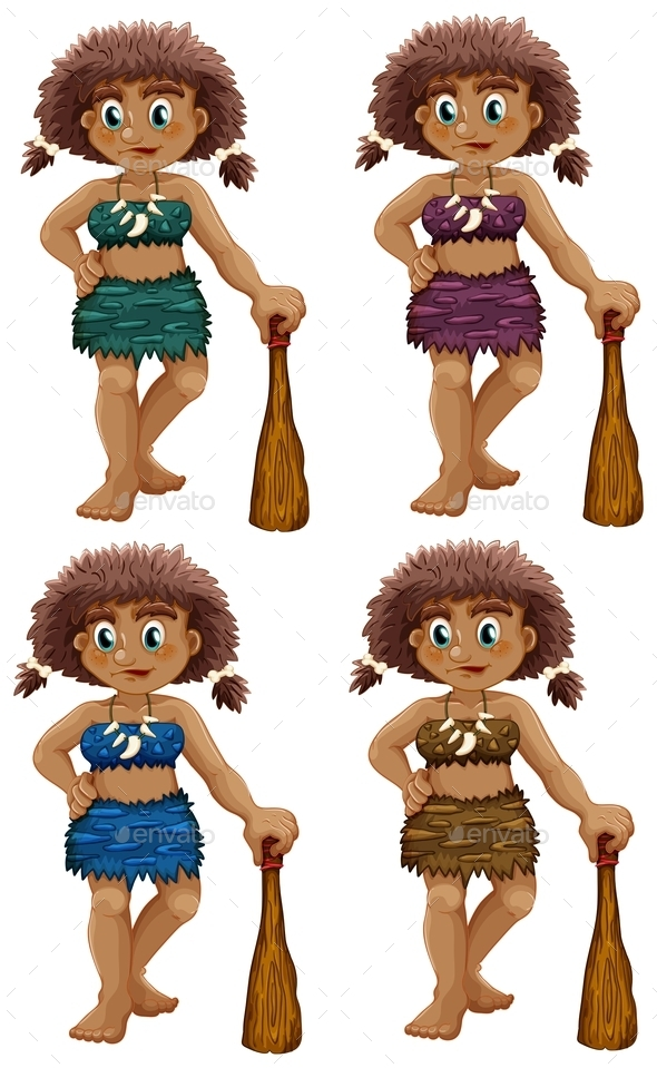 Caveman Set - People Characters