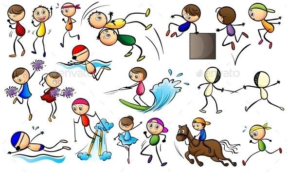 Kids Doing Sport Activities - People Characters