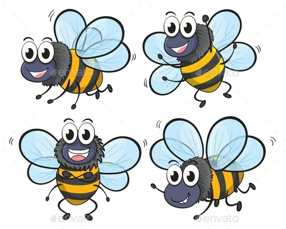 Four Bees - Animals Characters