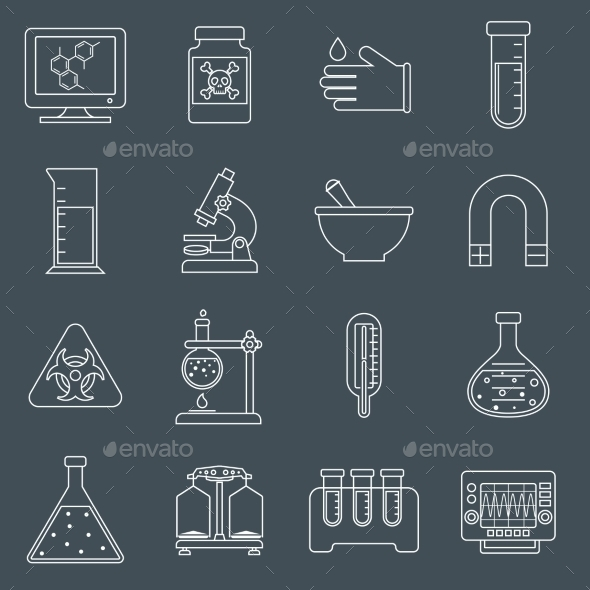 Laboratory Equipment Icons Outline - Web Technology