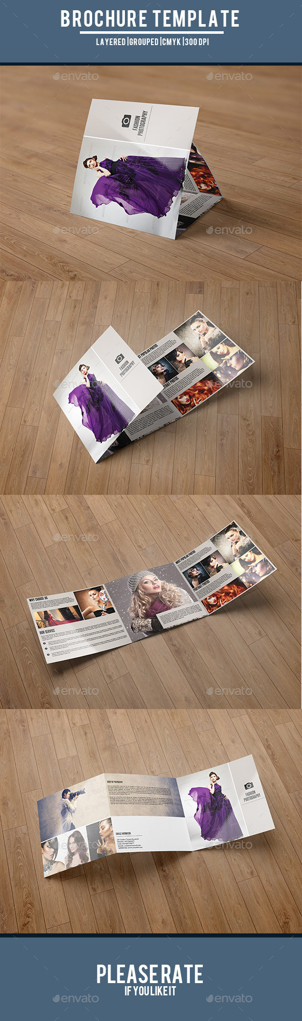 Square Trifold for Fashion Photography-V46 - Corporate Brochures