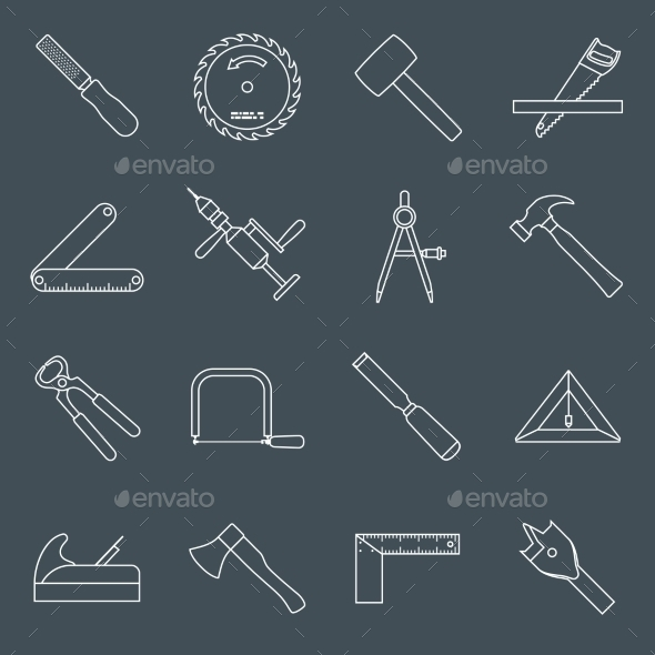 Carpentry Tools Icons Outline - Web Elements Vectors