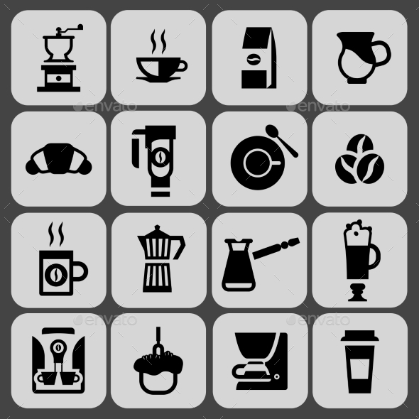 Coffee Icons Black Set - Web Technology