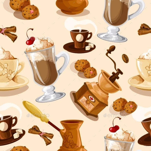 Coffee Seamless Pattern - Food Objects