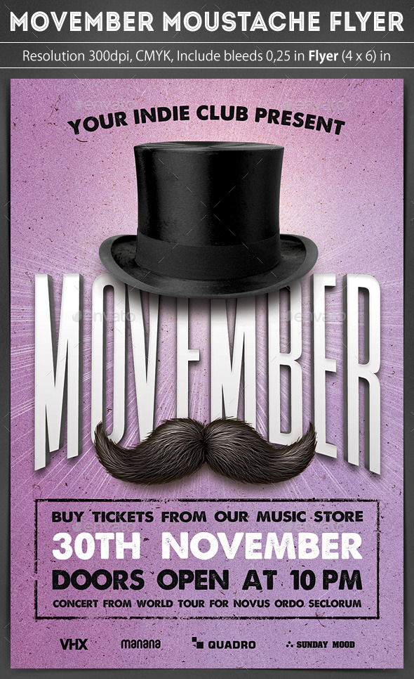 Movember Moustache Flyer - Clubs & Parties Events