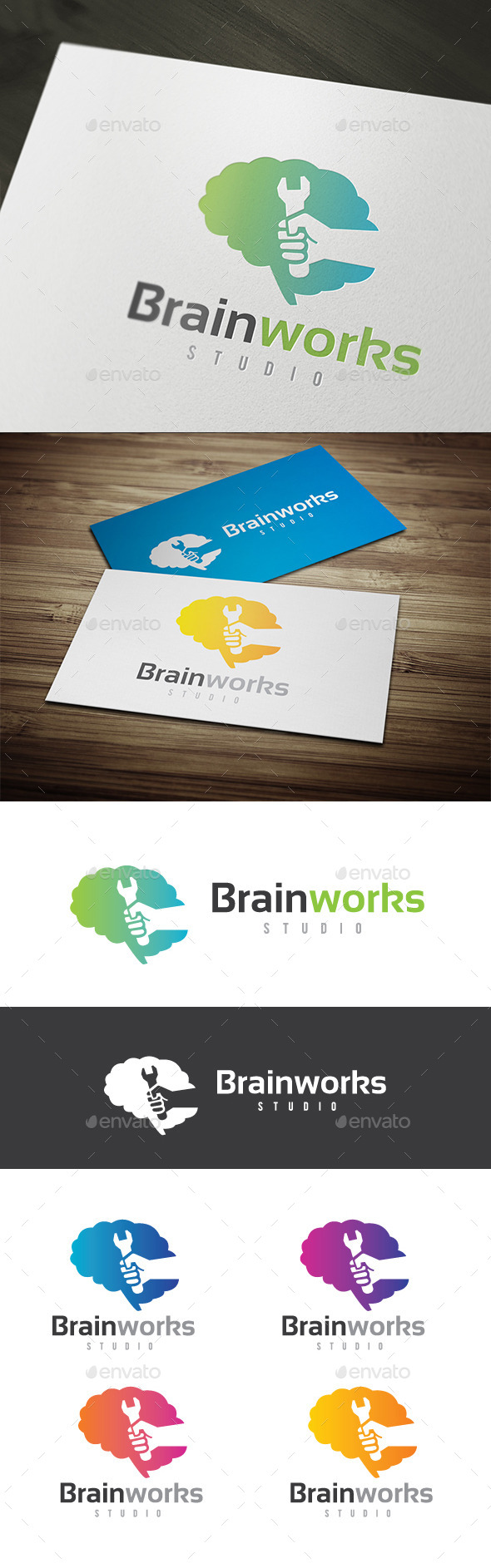 Brain Works - Humans Logo Templates