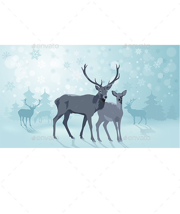 Winter Landscape with Deers - Animals Characters