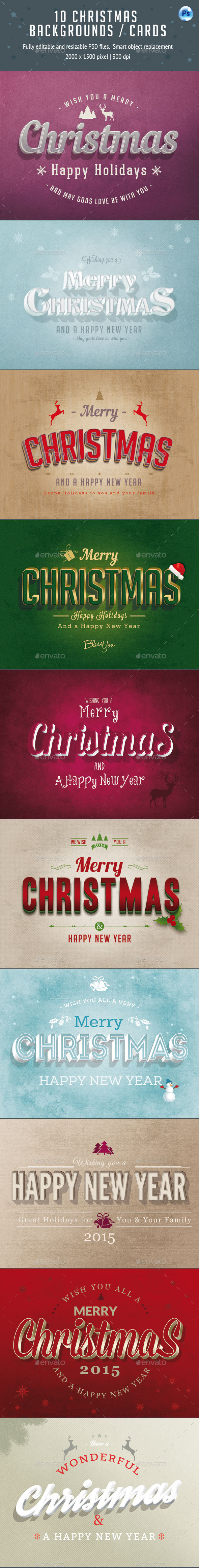 10 Christmas Cards / Backgrounds - Backgrounds Graphics