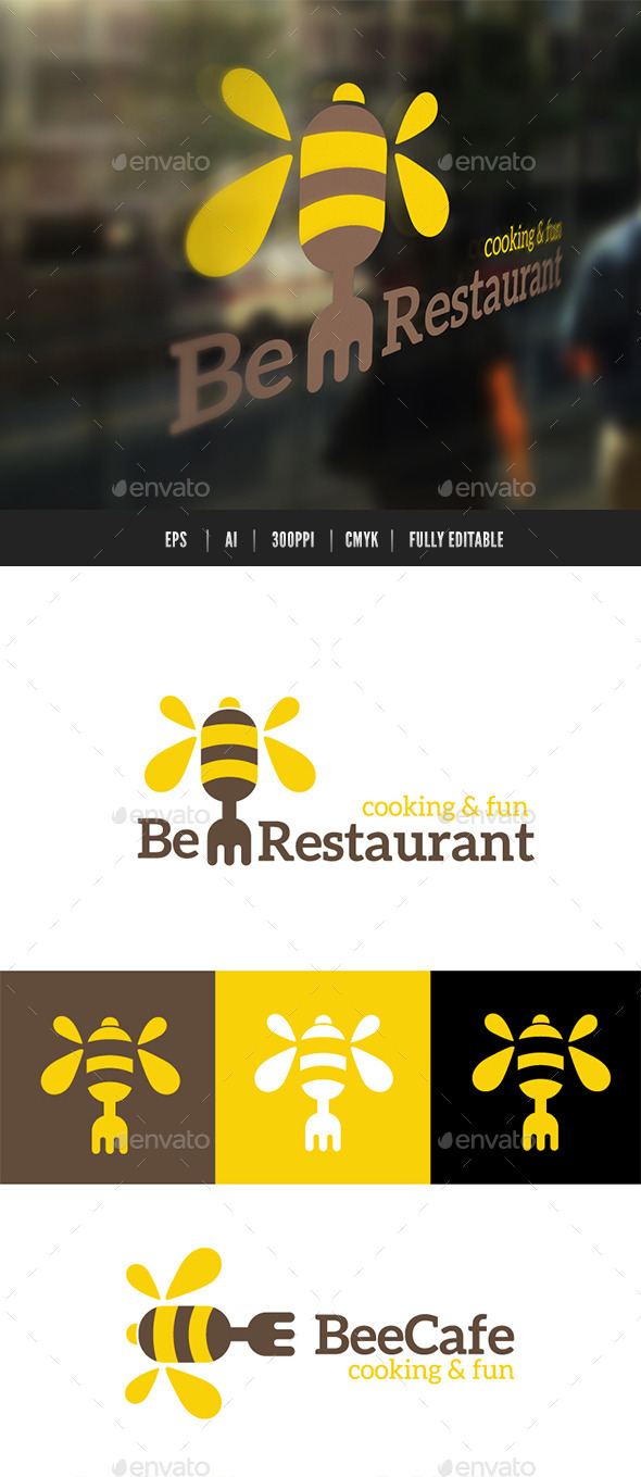Bee Restaurant  - Restaurant Logo Templates