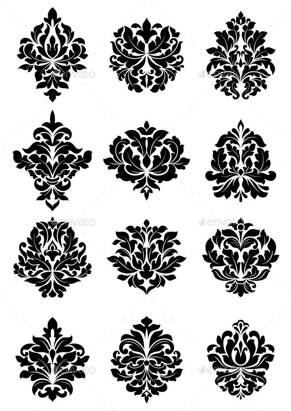Bold Floral Arabesque Motifs - Flourishes / Swirls Decorative