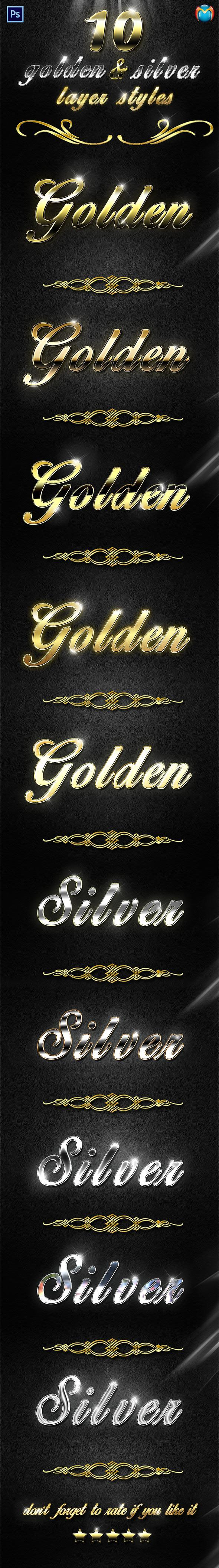 Golden & Silver Layer Styles V.2 - Text Effects Styles