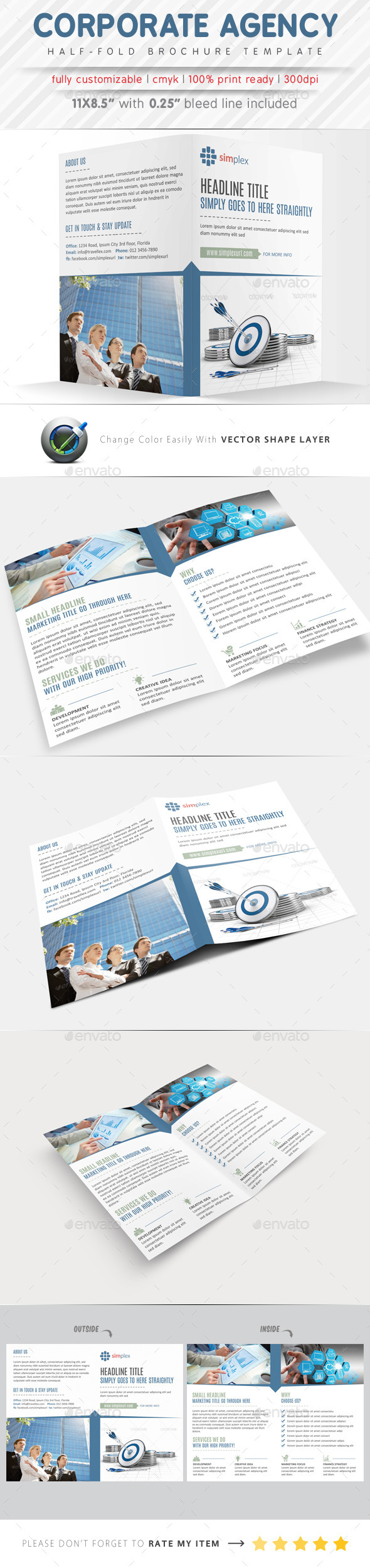 Corporate Agency Half Fold Brochure - Corporate Brochures