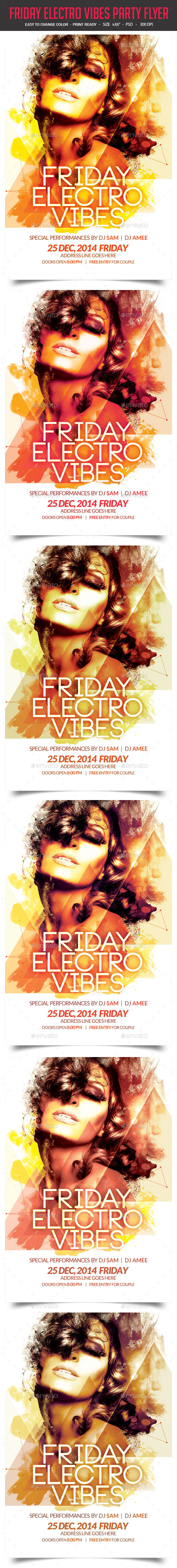 Friday Electro Vibes Party Flyer - Clubs & Parties Events
