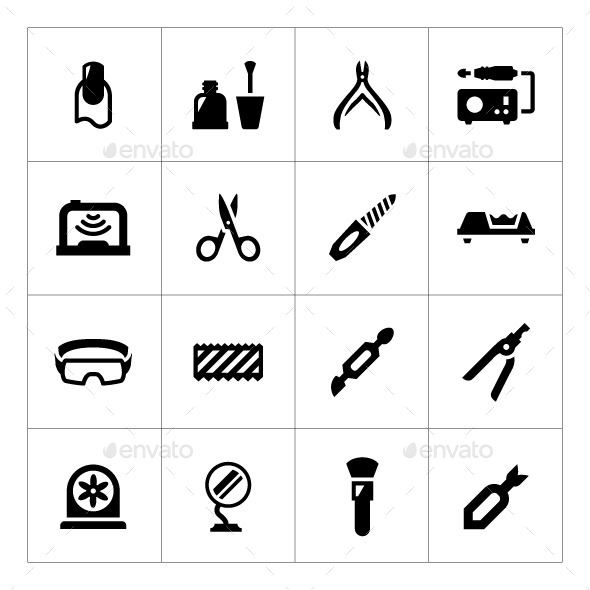 Set Icons of Manicure - Man-made objects Objects