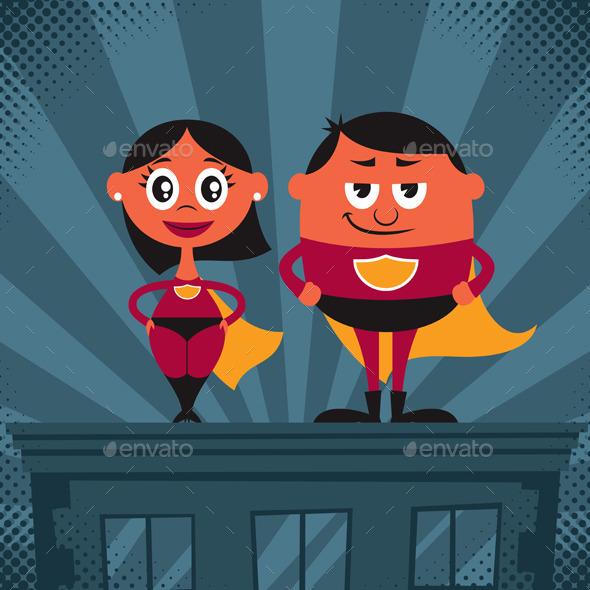 Superhero Couple Cartoon - People Characters