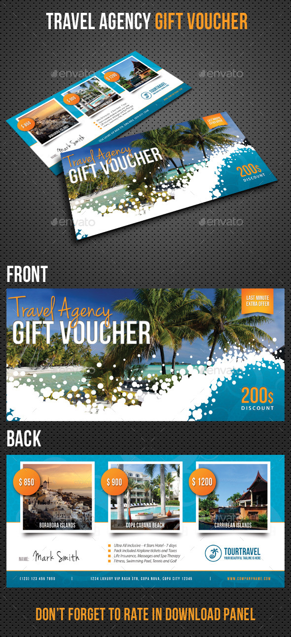 Travel Agency Gift Voucher - Cards & Invites Print Templates