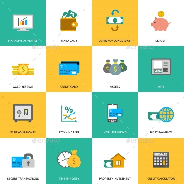 Set of Finance and Money Icons. - Concepts Business