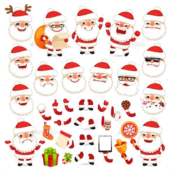 Set of Cartoon Santa Claus - Christmas Seasons/Holidays