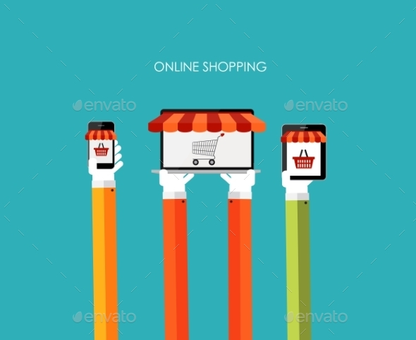 Online Shopping Flat Concept for Mobile Apps - Web Technology