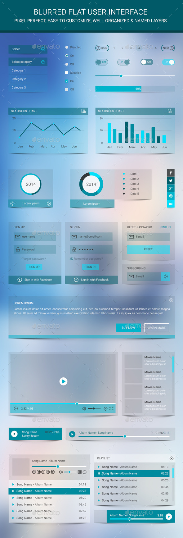 Blurred Flat User Interface - User Interfaces Web Elements