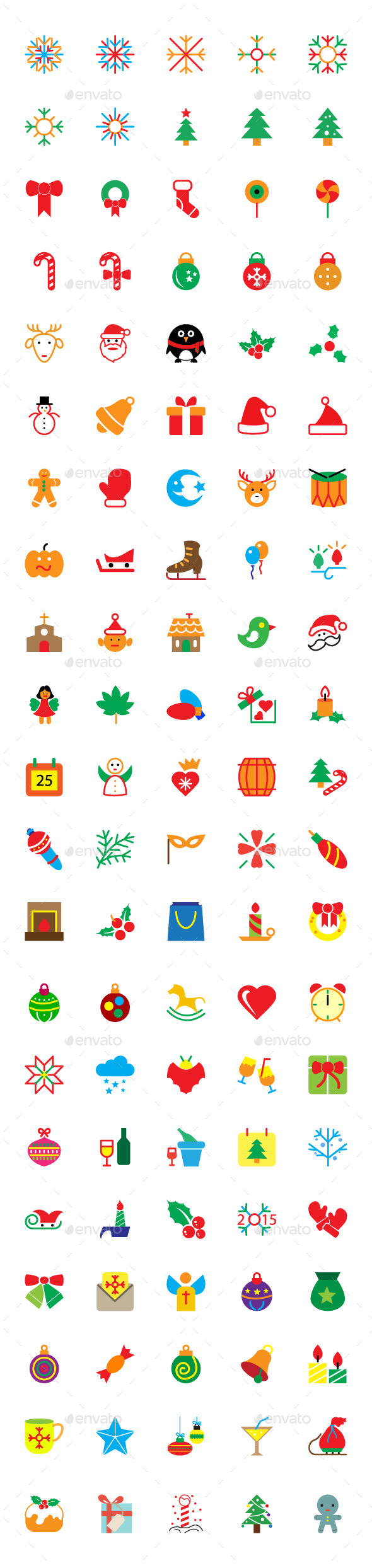 100+ Colored Merry Christmas Vector Icons - Seasonal Icons