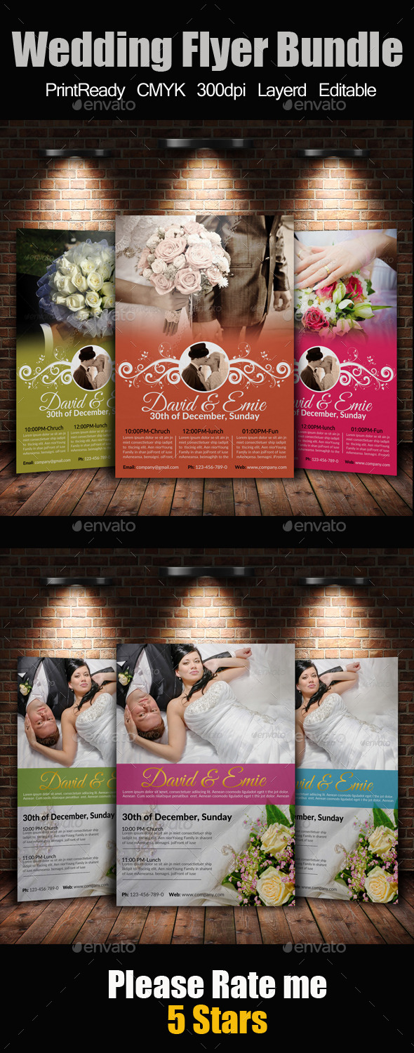 A4 Wedding Flyer Bundle - Events Flyers