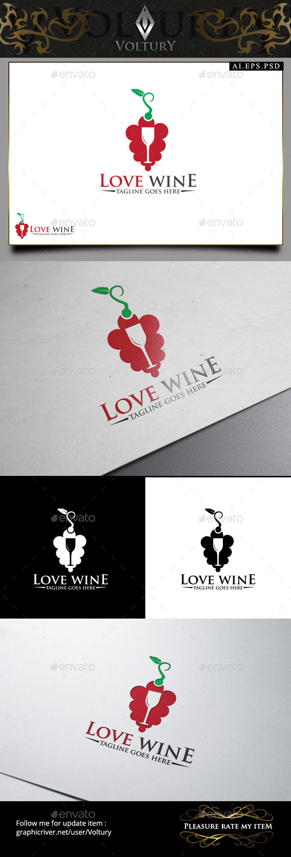 Love Wine Logo - Food Logo Templates