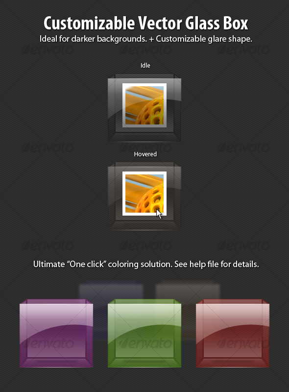 Customizable Vector Glass Box - Miscellaneous Web Elements