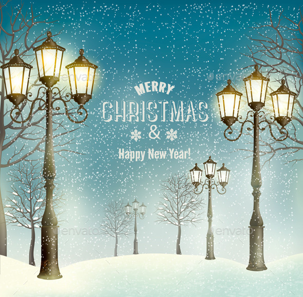 Christmas Landscape with Vintage Lampposts - Christmas Seasons/Holidays